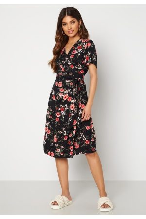 Happy Holly Brielle wrap dress Black / Patterned 40/42