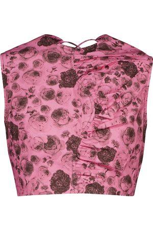 Ganni Floral cotton poplin crop top