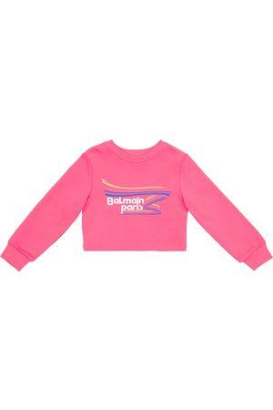 Balmain Logo cropped cotton sweatshirt