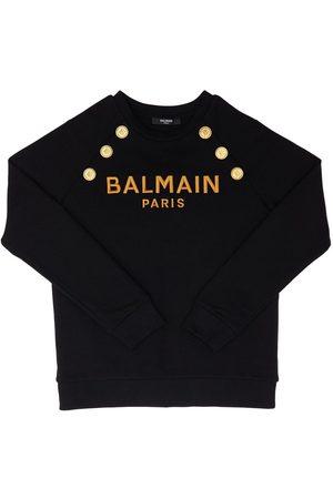 BALMAIN Tytöt Collegepaidat - Logo Print Cotton Sweatshirt