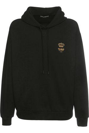 Dolce & Gabbana Miehet Collegepaidat - Bee & Crown Embroidered Cotton Hoodie