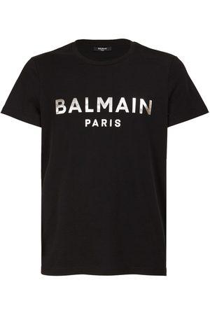 Balmain Miehet T-paidat - Logo Foil Organic Cotton Jersey T-shirt