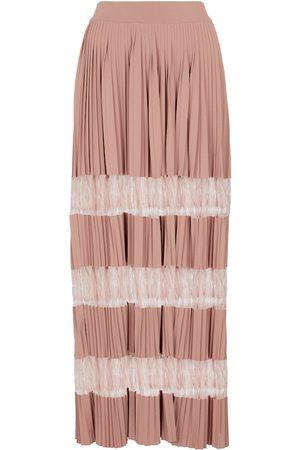 Alaïa Pleated lace-insert maxi skirt