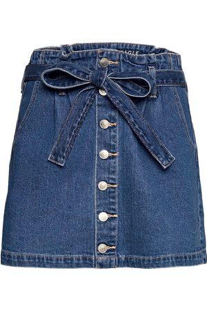 AMERICAN EAGLE Naiset Minihameet - Ae Super High-Waisted Denim A-Line Skirt Lyhyt Hame Sininen