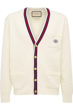 Gucci Web V-neck Cotton Knit Cardigan