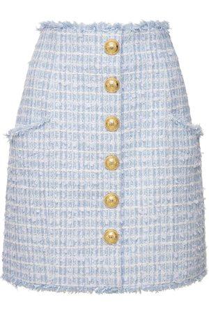 Balmain Naiset Minihameet - High Waist Cotton Blend Tweed Mini Skirt