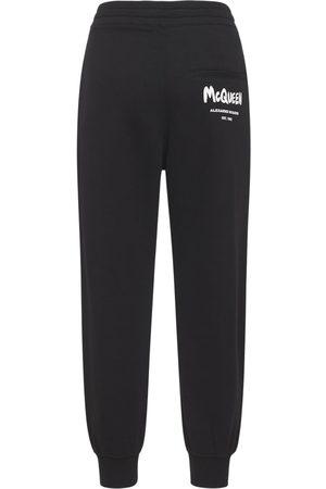 ALEXANDER MCQUEEN Cotton Jersey Logo Graffiti Jogger Pants