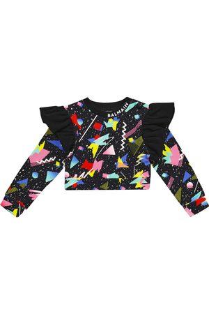 Balmain Printed cropped cotton sweatshirt