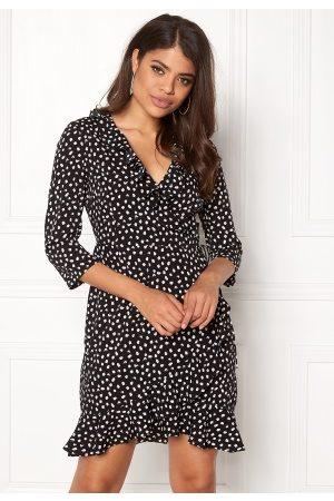 VERO MODA Henna Dot 3/4 Wrap Dress Black XL