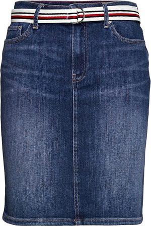 Tommy Hilfiger Rome Straight Hw Lea Skirt Polvipituinen Hame Sininen