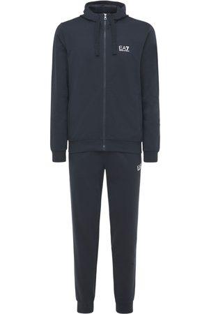 EA7 Miehet Puvut - Logo Printed Cotton Sweat Suit