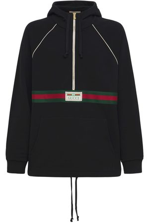 Gucci Logo Web Half-zip Cotton Jersey Hoodie