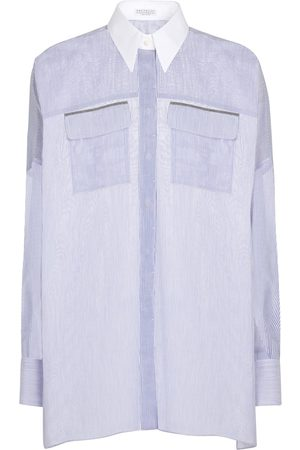 Brunello Cucinelli Exclusive to Mytheresa – Pinstriped cotton and silk shirt