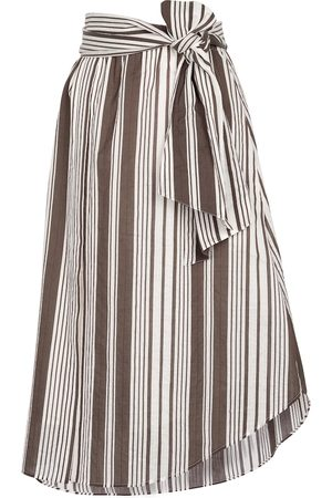 Brunello Cucinelli Exclusive to Mytheresa – Striped cotton and silk midi skirt