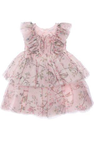 MONNALISA Tytöt Juhlamekot - Floral Print Layered Tulle Party Dress