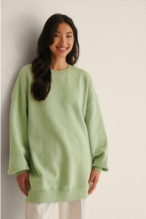 NA-KD Naiset Collegepaidat - Orgaaninen Oversized, Harjattu Collegepaita - Green