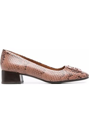 Tory Burch Naiset Loaferit - Snakeskin-effect slip-on leather loafers