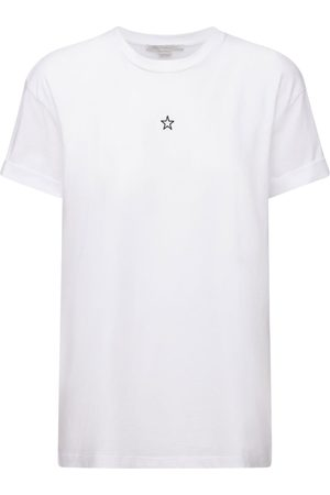 Stella McCartney Naiset T-paidat - Star Embroidered Cotton Jersey T-shirt