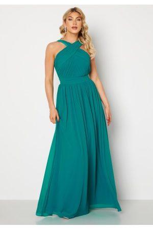 Goddiva Cross Front Chiffon Maxi Dress Sapphire S (UK10)