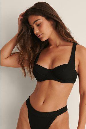 NA-KD Swimwear Ribattu Bikiniyläosa Leveillä Nauhoilla - Black