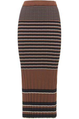 THEORY Naiset Midihameet - Striped Ribbed Cotton Midi Skirt