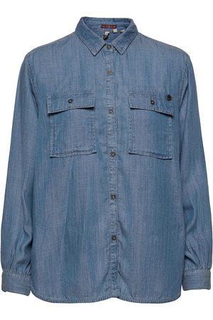 Superdry Ls Textured Shirt Pitkähihainen Paita Sininen
