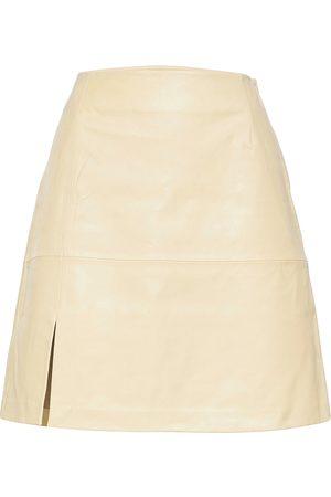 Holzweiler Belle Leather Skirt Polvipituinen Hame Kermanvärinen