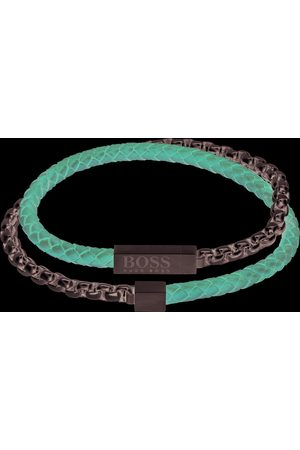 HUGO BOSS BOSS Leather And Chain Bracelet Brown