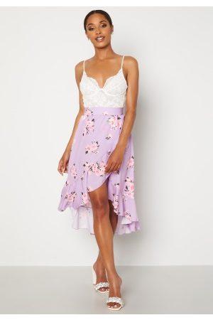 John Zack Wrap Frill Midi Skirt Printed Lilac Print S (UK10)