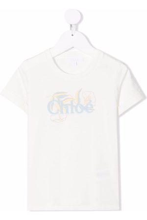 Chloé T-paidat - Floral logo print T-shirt