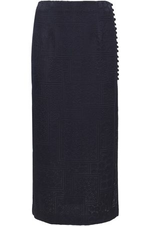 ROTATE Caitlin Viscose Blend Satin Midi Skirt
