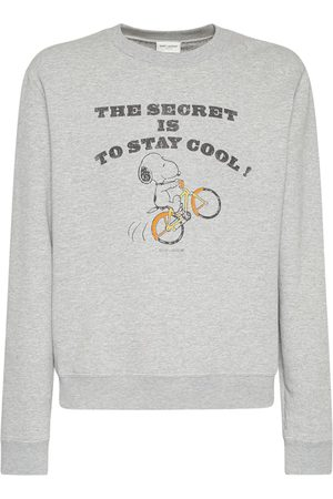 SAINT LAURENT Snoopy Print Cotton Sweatshirt