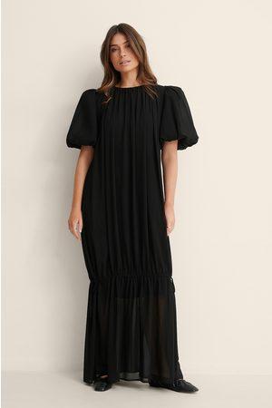 NA-KD Big Puff Sleeve Chiffon Dress - Black