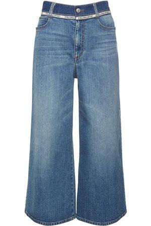 Stella McCartney Naiset Leveälahkeiset - Cotton Denim Wide Leg Cropped Jeans