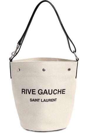 Saint Laurent Seau Rive Gauche Linen Bucket Bag