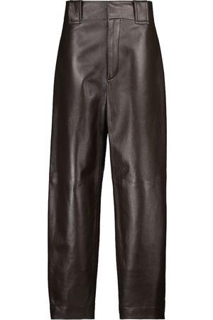 Bottega Veneta High-rise straight leather pants