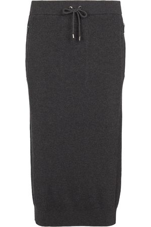 Brunello Cucinelli Ribbed-knit cotton midi skirt