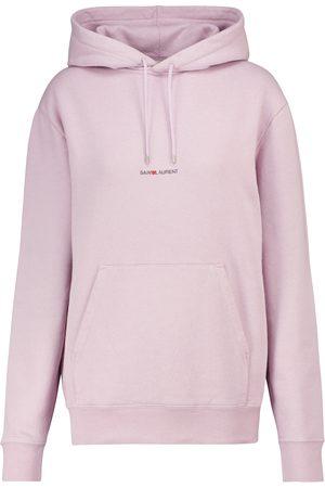 Saint Laurent Naiset Pitkähihaiset - Logo cotton-jersey hoodie