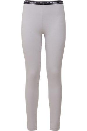 Balmain Logo Stretch Cotton Jersey Leggings
