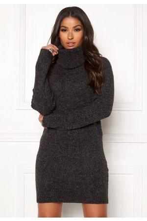 Object Nonsia rib L/S rollneck dress Dark Grey Melange XS
