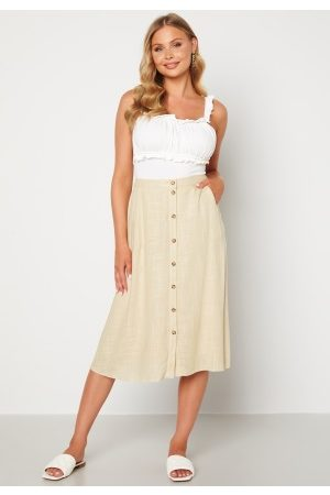 Pieces Naiset Midihameet - Timey HW Midi Skirt Almond Buff XS