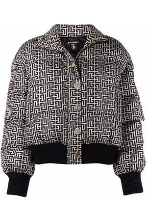 Balmain Naiset Untuvatakit - Monogram-print puffer jacket