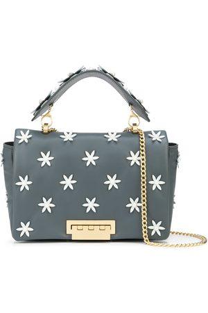 Zac Zac Posen Naiset Olkalaukut - Jumbo floral-appliqué leather shoulder bag
