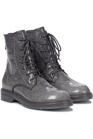 Max Mara Naiset Nilkkurit - Beth glazed wool combat boots