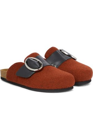 J.W.Anderson Leather-trimmed wool felt slippers