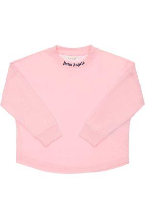 Palm Angels Tytöt T-paidat - Logo Print Cotton Jersey T-shirt