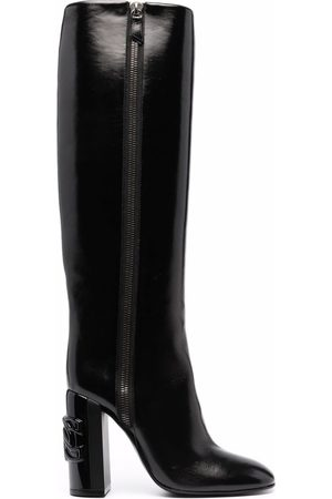Casadei Naiset Ylipolvensaappaat - C-Chain over-the-knee 100mm leather boots