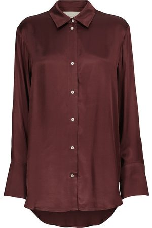 ASCENO Naiset Pitkähihaiset - Milan oversized bamboo satin shirt
