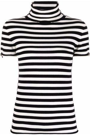 Twin-Set Roll-neck horizontal-stripe T-shirt