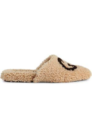 Gucci Naiset Tohvelit - Interlocking G shearling flat slippers